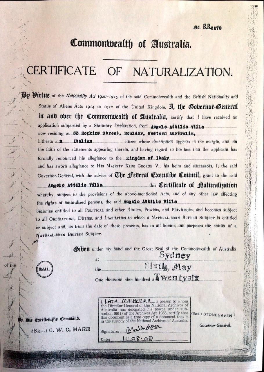 1926 05 06 Aa Villa Cert Of Naturalization Page 1 Naa 11 08