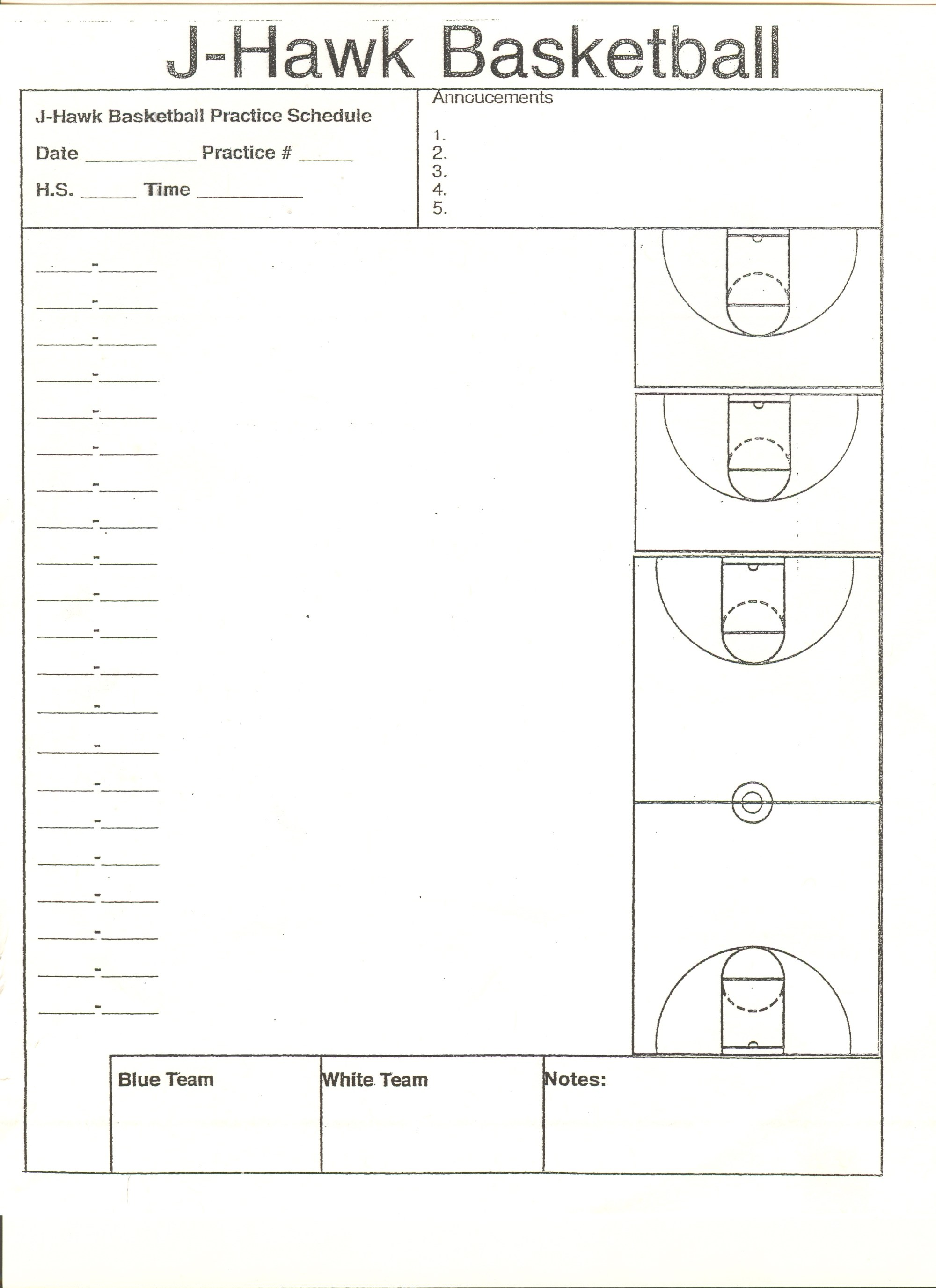 hight resolution of court diagrams for practice drills and plays