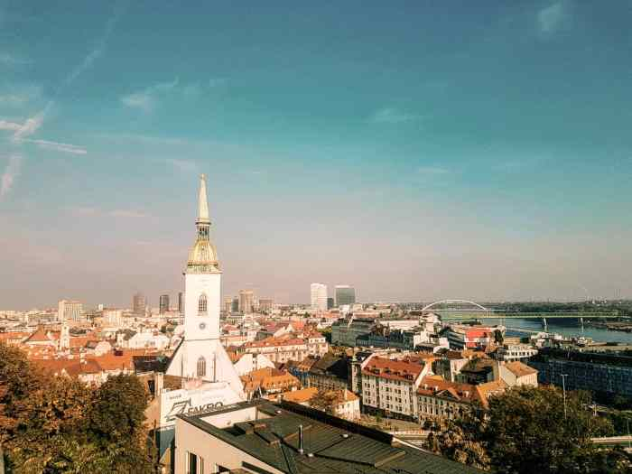 A cityscape with a river in the corner and baroque style church-Bratislava-First-Timer's-Guide-Local-Guide