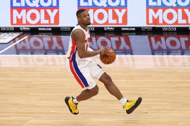 February 17, 2021;  Chicago, Illinois, United States;  Detroit Pistons guard Dennis Smith Jr. (0) brings the ball onto the court against the Chicago Bulls during the second half of an NBA game at the United Center.