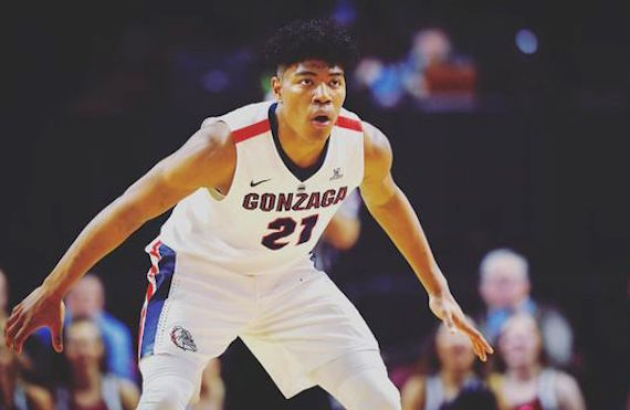 Making 44.4 percent of his 3s and averaging nearly 23 points, 6 boards, and two assists per game, Gonzaga's Rui Hachimura (#21) has vaulted into lottery territory this season.