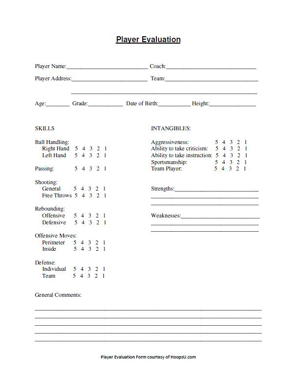 Basketball Tryout Evaluation Form  Basketball Coaching Tools