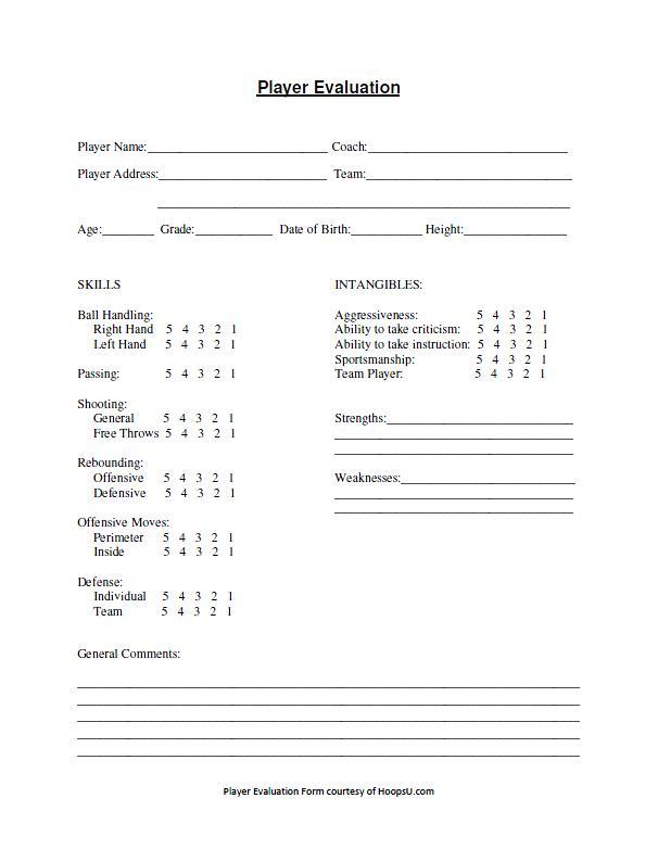 High Quality Basketball Tryout Evaluation Form | Basketball Coaching Tools | Hoops U.  Basketball Design