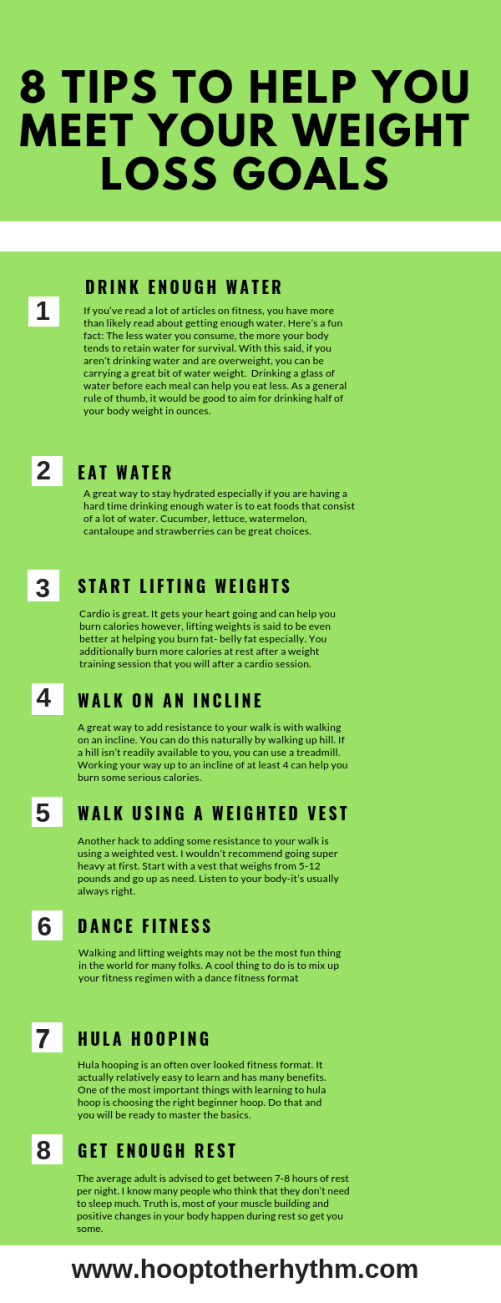 8 Quick Tips To Help You Meet Your Weight Loss Goals Hoop To The