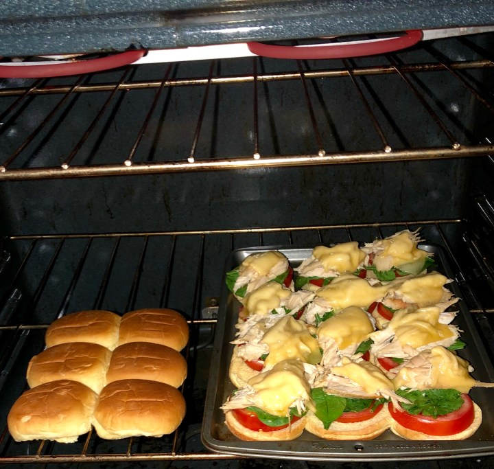 Sliders cooking in the oven