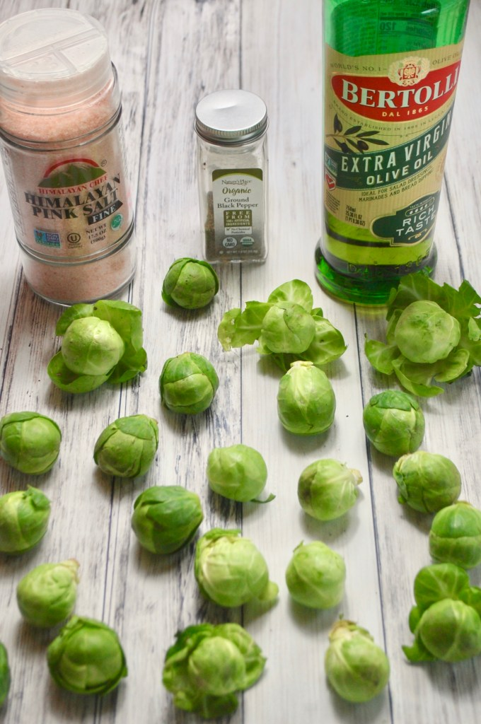 Brussels sprouts, salt, pepper, and olive oil