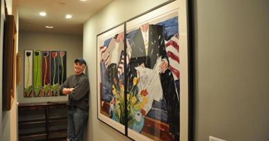 Matthew Johnston with his Tall Tulips (left) and Figurative Diptychs (right).