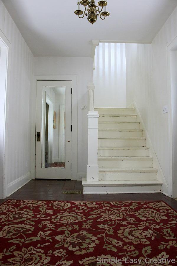 Paint Falling Wallpaper Modern Farmhouse Foyer Makeover Hoosier Homemade