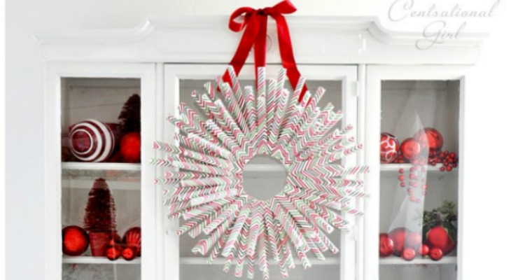 DIY Wrapping Paper Wreath Holiday Inspiration Hoosier
