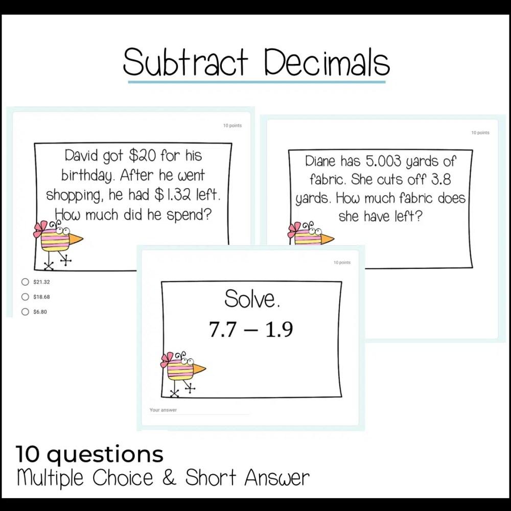 medium resolution of Adding and Subtracting Decimals Using Google Forms