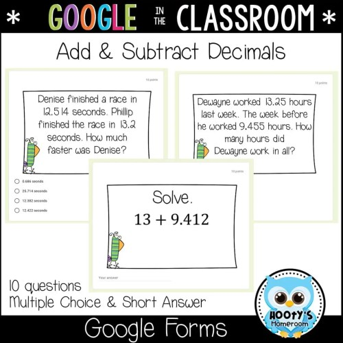 small resolution of Adding and Subtracting Decimals Using Google Forms