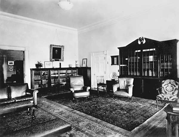 """Bookshelves in President Hoover's private study in the refurbished """"Lincoln Bedroom."""""""