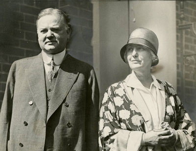 Herbert and Lou Hoover in the doorway of their home the morning after he was nominated for president in 1928.
