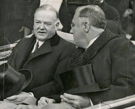 Herbert Hoover with President Elect Franklin D Roosevelt as they leave the White House on their way to the Inauguration ceremonies.