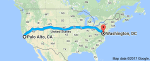 Google Maps driving directions from Palo Alto, CA to Washington, DC