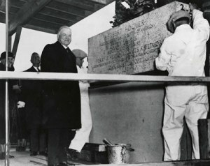 President Hoover laying the cornerstone for the National Archives building. 02/20/1933