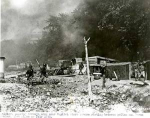Soldiers passing through the area near Capital were severe rioting took place between police and Bonus Army. July 28, 1932