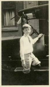 Allan Hoover outside the family's home in Washington, DC, ca. 1918.