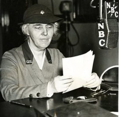 """1936 Lou Hoover, president of the Girl Scouts, giving a national speech over the radio on """"What does the future hold in store for our daughters."""""""