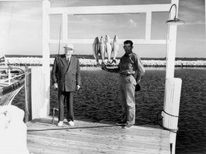 Herbert Hoover with Florida fishing guide, Calvin Albury. 1956
