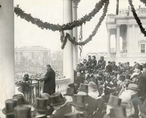 President Hoover giving his Inaugural address, March 4, 1929.