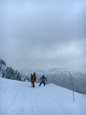 Nicole and Marcus in Cedar bowl with Mt Fernie behind.