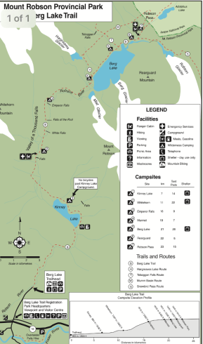 Trail map with distances/elevations