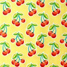 cherries on yellow background napkins
