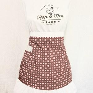 half-apron-flowers-polka dots on brown