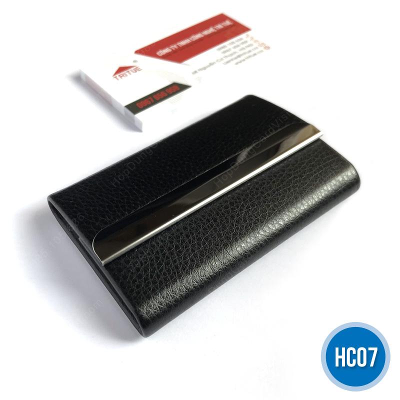 Hộp đựng name card cao cấp bằng da HC07 đen