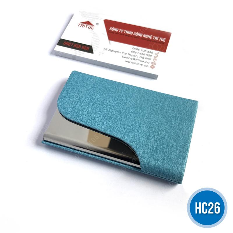 Hộp namecard da HC26 xanh