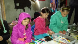Allison, Paige and Lauren making prayer flags