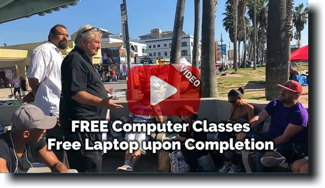 Santa Monica beach outreach computer classes and free laptop video with play button