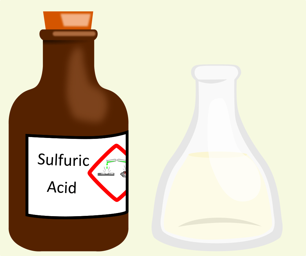 a flask and a bottle of sulfuric acid