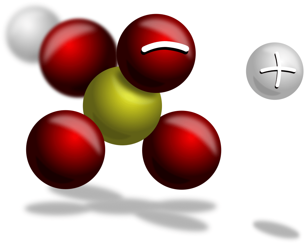 Sulfuric acid after donating a single hydrogen ion. The HSO4 ion is shown with a single negative charge and a H is shown with a single positive charge next to it.