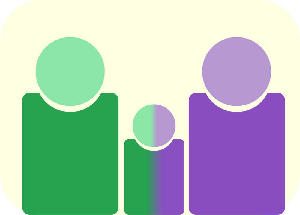 A cartoon of two parents with a child between them. The child is a mix of both parents.