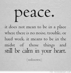 peace those things