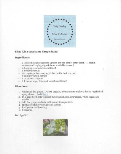 Grape Salad Printable