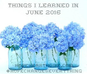 what i learned in june 2016