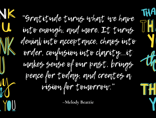 Gratitude turns what we have into enough, and more. It turns denial into acceptance, chaos into order, confusion into clarity...it makes sense of our past, brings peace for today, and creates a vision for tomorrow. —Melody Beattie