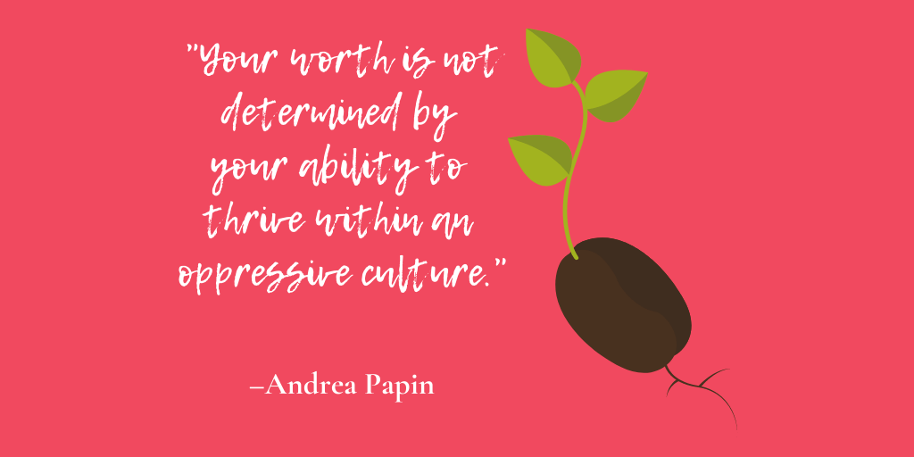 Andrea Papin quote with illustrative growth of a seedling