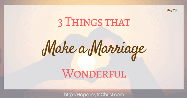 3 Things That Make a Marriage Wonderful (Christian Marriage Biblical Wifehood (Reclaiming Hope & Joy in your Marriage))