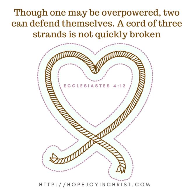 Ecclesiastes 4 12 A cord of 3 strands