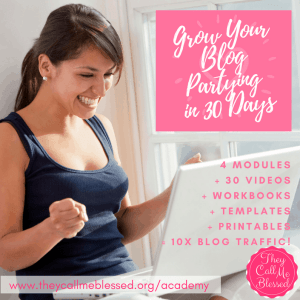 Grow your blog Partying in 30 days 10 Christian Blogging Course from TheyCallMeBlessed (https://theycallmeblessed.teachable.com/?affcode=73637_xujcvd8b )