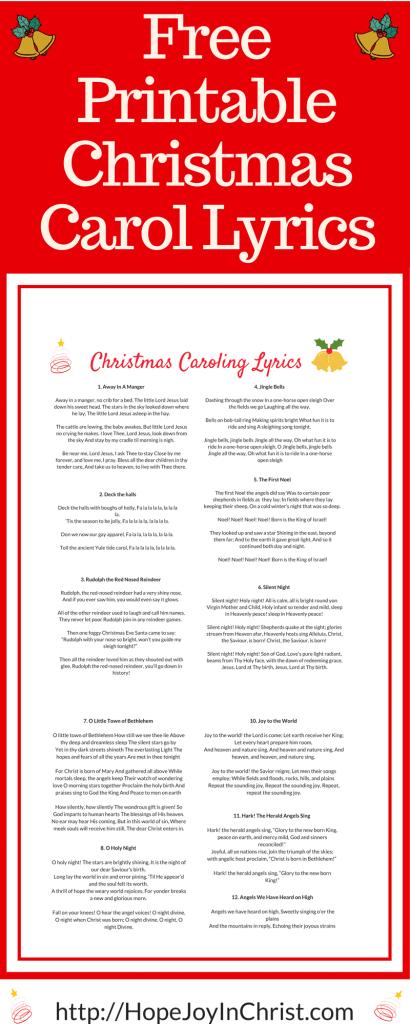 Free Printable Christmas Carol Lyrics (#FreePrintable #ChristmasCarol #HolidayIdeas #ChristCenteredChristmas)