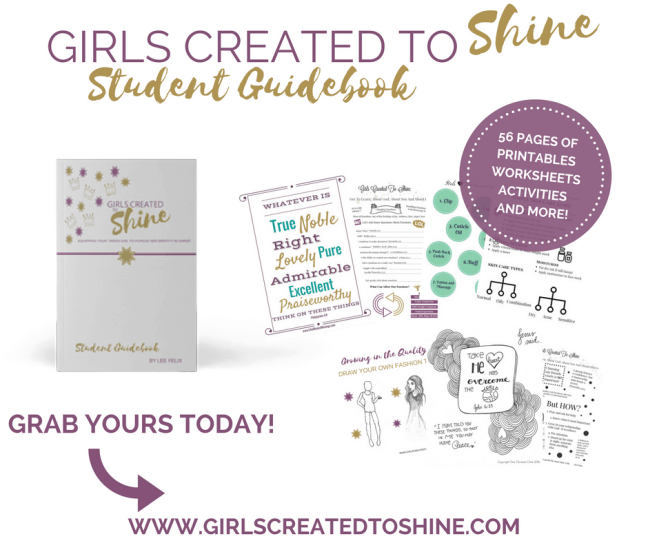 Girls Created To Shine What's Inside Student Guidebook 12 week course for mom and daughter #momlife #selfCare #TweenParenting https://transactions.sendowl.com/stores/7670/39848