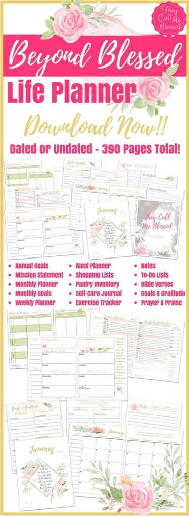 Beyond Blessed Life Planner is the printable planner you need to take your life from good to beyond blessed in the new year! #Printables It comes with video tutorials and is filled with tips and strategies to maximize your time, set achievable goals, organize your life better, live a healthier lifestyle, spend more time with God, take better care of yourself and more.