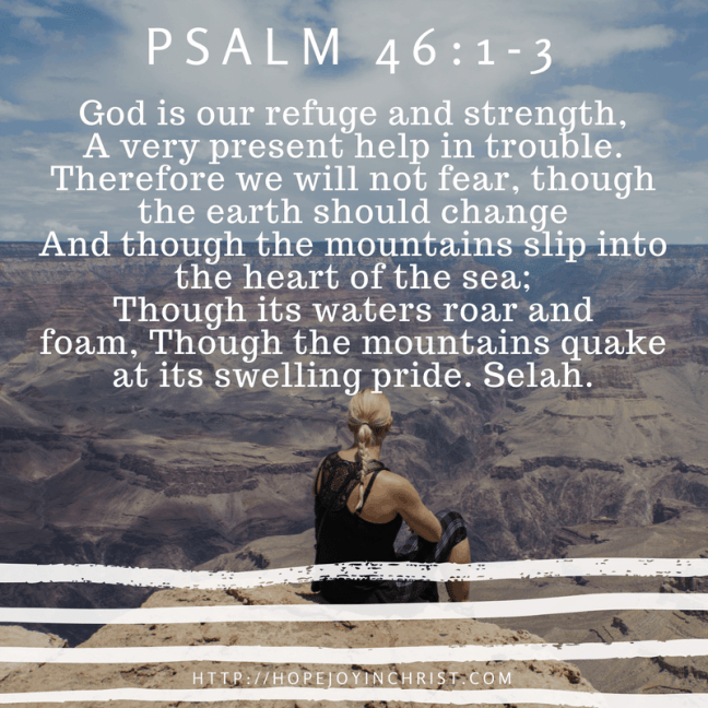 Psalm 46:1-3 God is my refuge and strength - my safe place