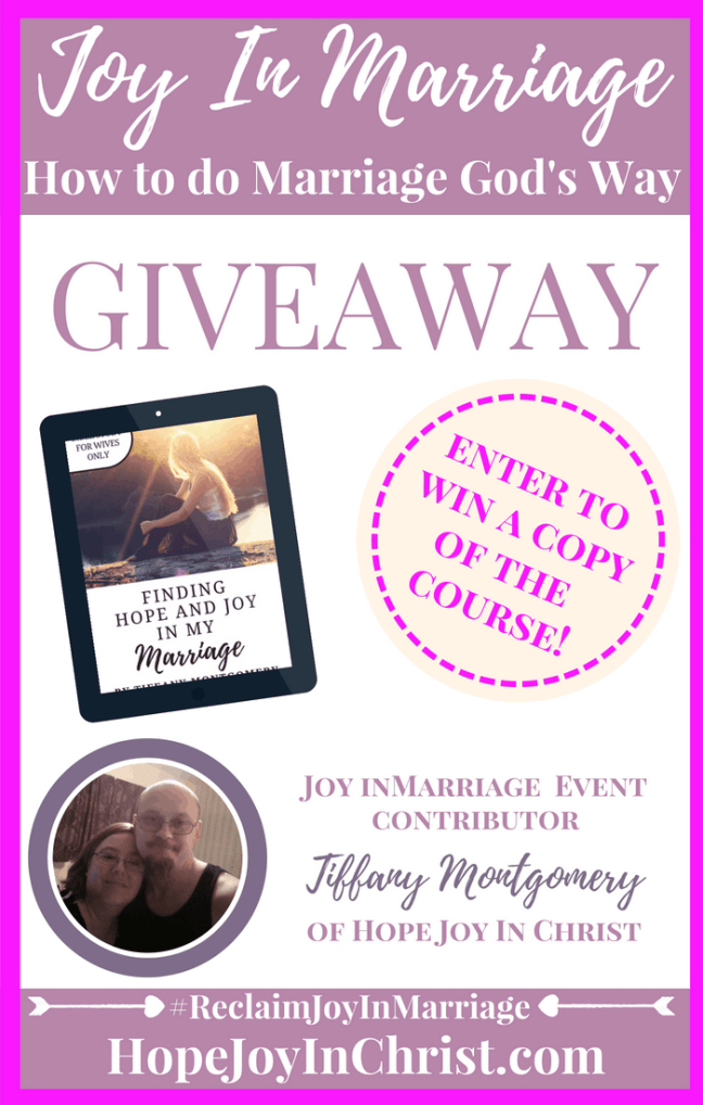 Finding Hope and Joy in My marriage Giveaway PinIt #JoyInMarriage #MarriageGodsWay #JoyQuotes #JoyScriptures #ChooseJoy #ChristianMarriage #ChristianMarriagequotes #ChristianMarriageadvice #RelationshipQuotes #Giveaway #MarriageCourse