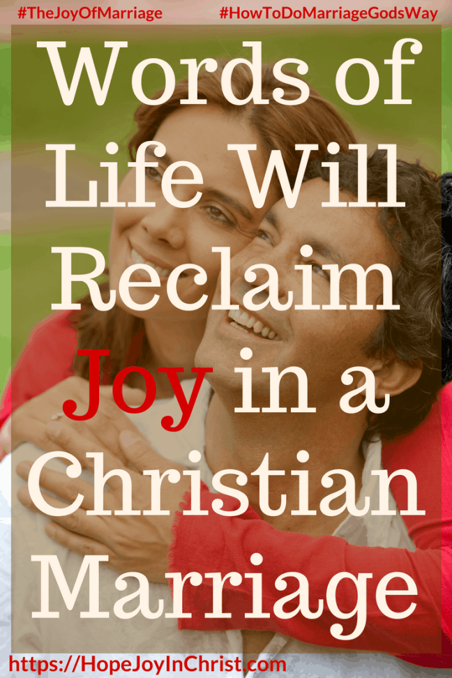 Words of Life Will Reclaim Joy in a Christian Marriage 31 Ways to Reclaim Joy in a Christian Marriage #SpeakWordsOfLife #Wordsoflifequotes #JoyInMarriage #MarriageGodsWay #JoyQuotes #JoyScriptures #ChooseJoy #ChristianMarriage #ChristianMarriagequotes #ChristianMarriageadvice #RelationshipQuotes